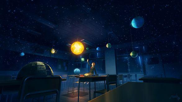 Обои Девушка, сидящая на парте, пытается дотянуться до планеты, висящей под потолком, сделанным в виде звездного неба, класса, art by Technoheart