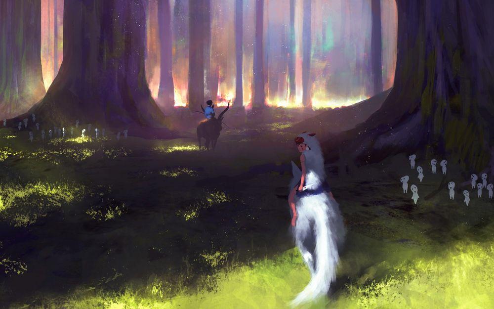 Обои для рабочего стола Принцесса Мононоке верхом на белом волке в сказочном лесу, арт к аниме Принцесса Маноноке