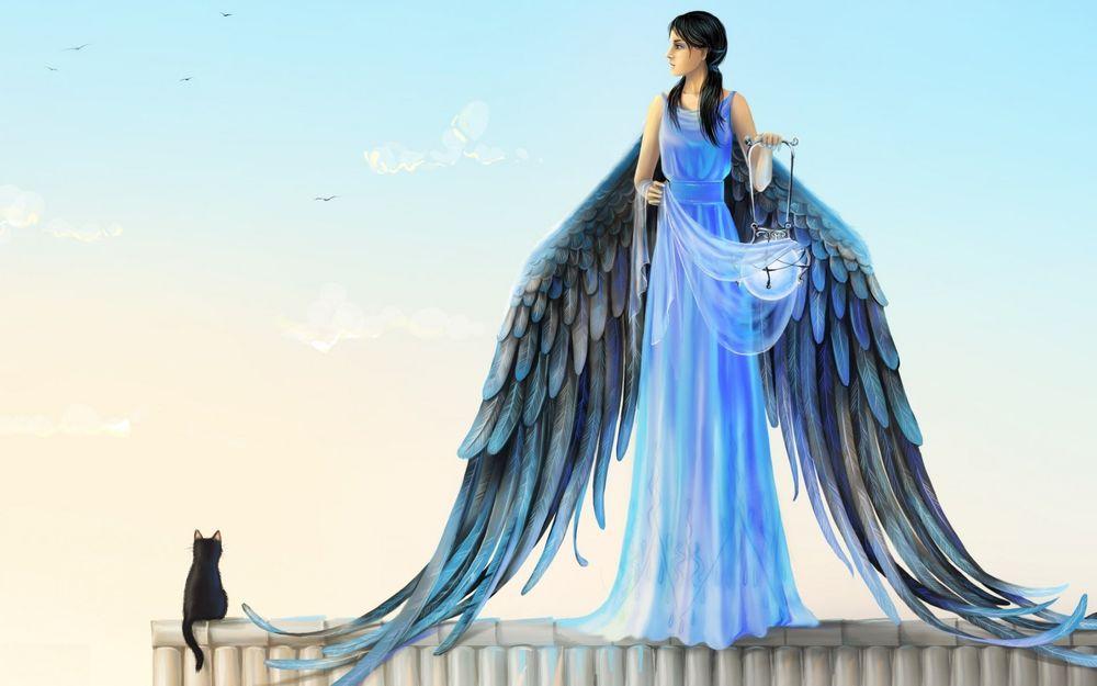 Обои для рабочего стола Девушка-ангел с фонарем в руке стоит на крыше дома, рядом сидит кошка