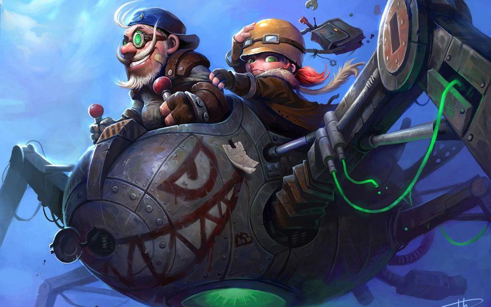 Обои для рабочего стола Гномы едут верхом на инженерном боте, арт к игре World of Warcraft