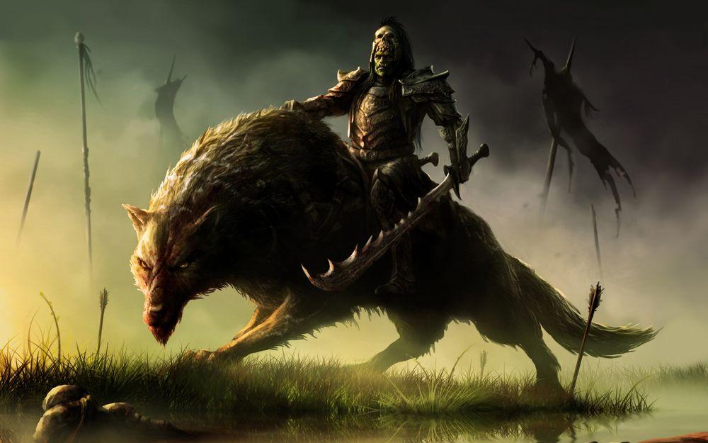 Обои для рабочего стола Орк верхом на волке, арт к игре World of Warcraft