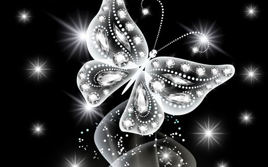 Обои Белая бабочка с бриллиантами летает на черном фоне