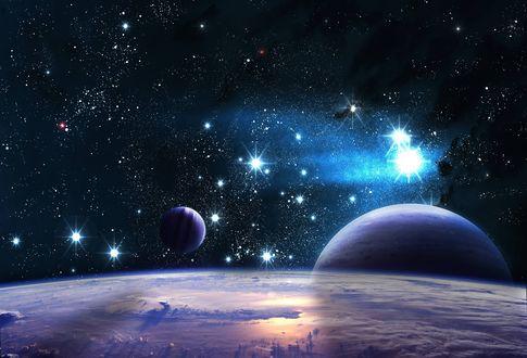 Обои Вид на яркие звезды и соседние планеты с поверхности неизвестной планеты