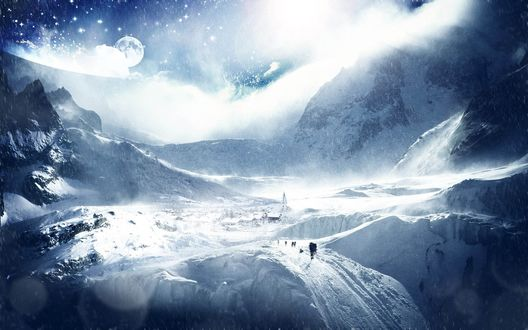 Обои Снежная планета, покрытая горами, в небе видны соседние звезды и планеты