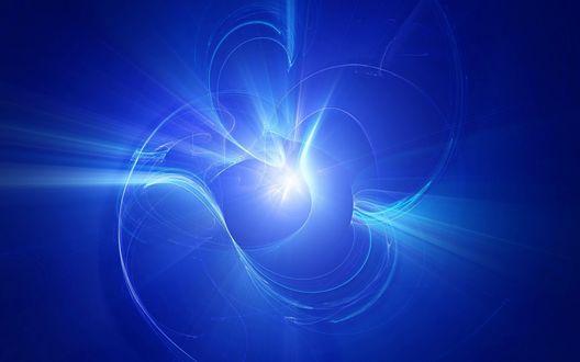 Обои Белые линии, создающие свет на синем фоне