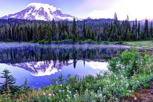 Обои Отражение в озере заснеженных гор на фоне природы