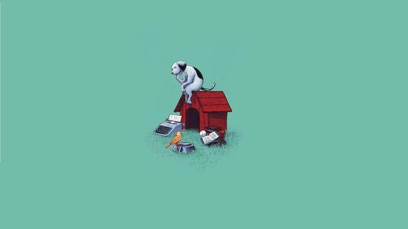 Обои Собака сидит на будке и тоскливо смотрит на пустую миску, на которой сидит птица, рядом пишущая машинка и стопка книг