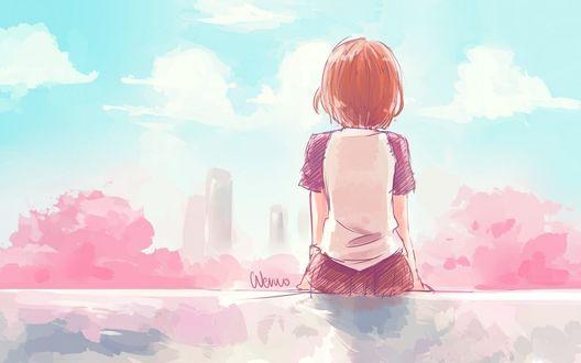 Обои Девушки сиди на крыше спиной и смотрит на город