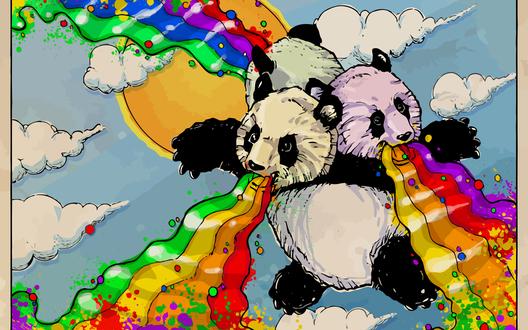 Обои Трехголовая панда извергают радугу