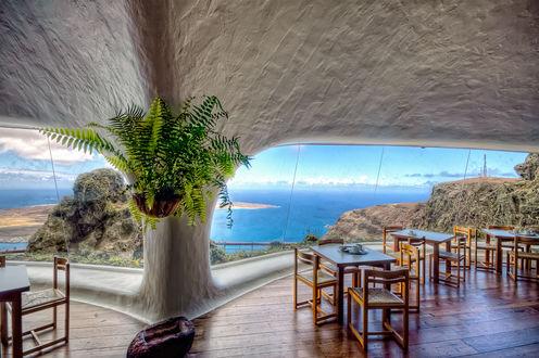 Обои Вид из отеля Fundacion Cesar Manrique на морские просторы, Costa Teguise, Lanzarote, Spain / Коста-Тегизе, Лансароте, Испания
