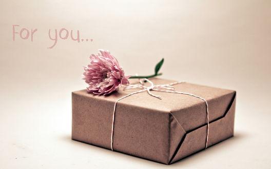 Обои Запечатанная коробка с розовыми пионом (For you. / Для тебя.)