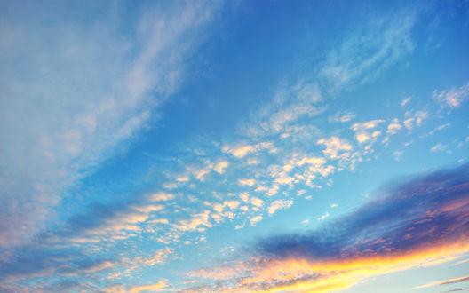 Обои Неба с оранжевыми облаками