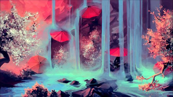 Обои Красные зонтики под водопадом, рядом цветут сакуры, иллюстратор Cyril Rolando / Кирилл Роландо