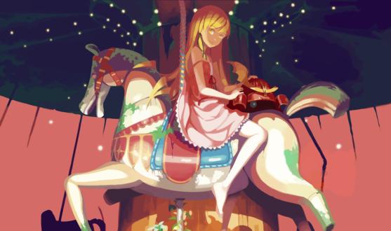 Обои Oshino Shinobu / Синобу Осино из аниме Bakemonogatari / Истории монстров, art by vofan