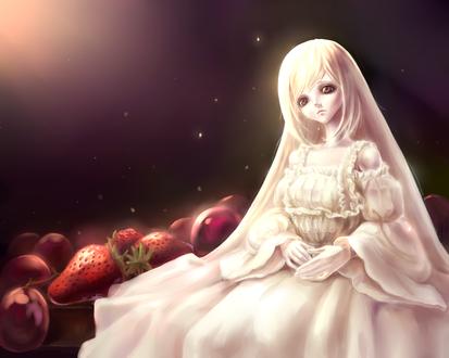 Обои Светловолосая девушка-кукла сидит среди ягод, art by grape. mk-233