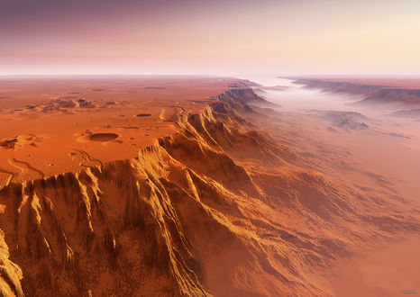 Обои Пустыня на другой планете, возможно Марс, художник Kagaya