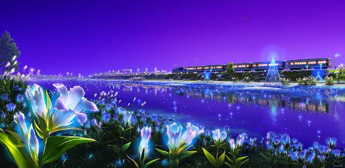 Обои На берегу реки растут светящиеся цветы, а на другой стороне виден проезжающий поезд, над ним в небе летит стая птиц, художник Kagaya