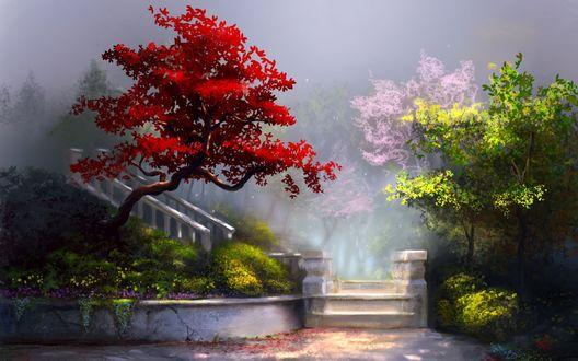 Обои Цветущие деревья около лестницы, художник jjpeabody