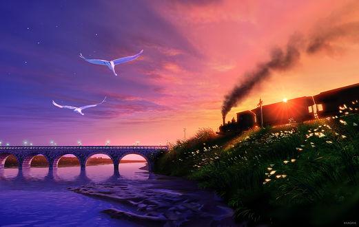 Обои Недалеко от берега реки, по железной дороге едет поезд, художник Kagaya