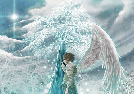 Обои Ангел приложил руку к стволу дерева, art by fusui