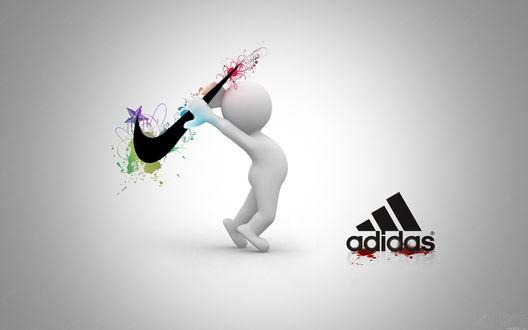 Обои Белый человечек избивает знаком Найк / Nike, логотип Адидас / Adidas