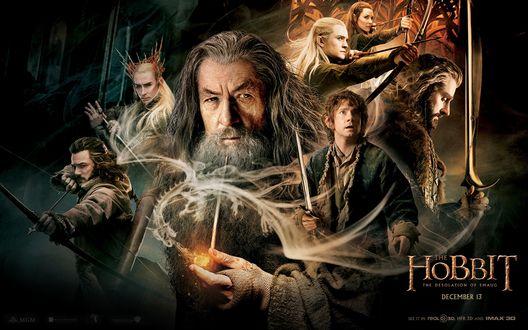 Обои Постер к фильму Хоббит Пустошь Смауга / The Hobbit: The Desolation of Smaug с персонажами: Леголас, Бильбо Бэггинс, Гэндальф Серый (December 13)