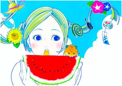 Обои Девушка, которая собирается съесть арбуз, арт мангаки Natsuko Echizen