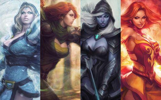 Обои Героини игры Дота 2 / DotA 2: Lina, Windrunner, Drow Ranger, Crystal Maiden