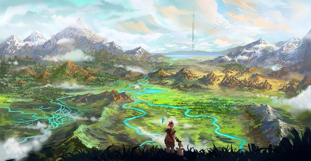 Обои Найт / Knight, Nehani / Ниани и Бэйби / Baby из игры Крестовый поход / Guardians Crusade, художник LongJh