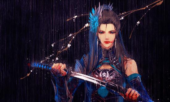 Обои Девушка с катаной под дождем, art by Ibuki satsuki