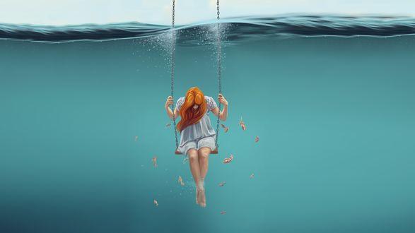 Обои Девушка сидит на качелях, опущенных под воду, вокруг нее плавают рыбы, фотоарт Artylay