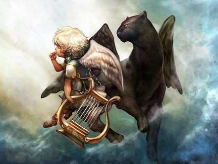 Обои Маленький ангел с арфой и крылатая пантера