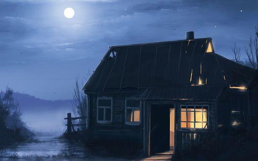 Обои Дом около озера на фоне тумана и полнолуния в ночном небе