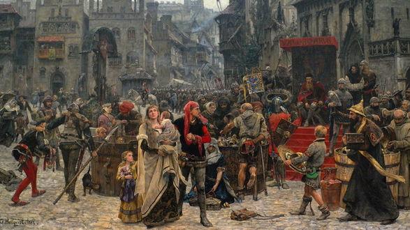 Обои Картина Valdemar Atterdag Visby / Вальдемар Аттердаг Висби собирает дань с жителей Visby / Висби, художник Карл Густав Хеллквист 1882