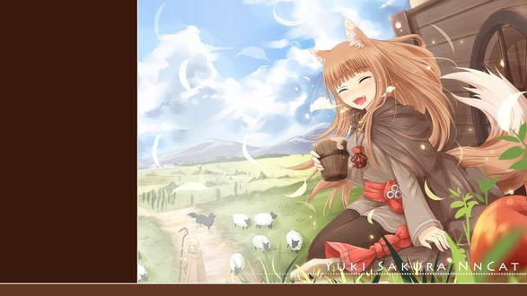 Обои Horo / Хоро из аниме spice and wolf / Ookami to Koushinryou / Волчица и пряности, art by Nncat