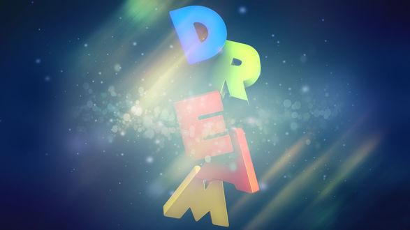 Обои Надпись DREAM / Мечта на синем фоне