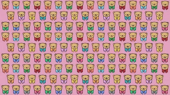 Обои Рисунок, состоящий из плюшевых медведей с бантами, на розовом фоне