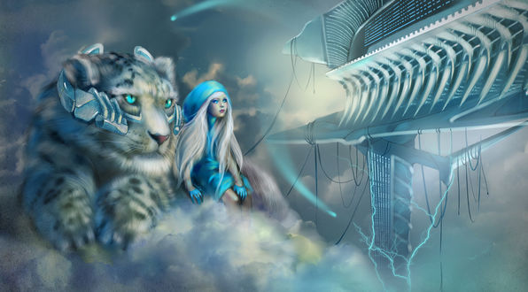 Обои Девушка и белый тигр, art by sheer-madness