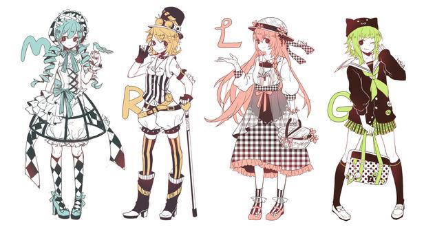 Обои Vocaloid GUMI, Hatsune Miku, Kagamine Rin, Megurine Luka / Вокалоид Гуми, Хатцуне Мику, Кагамине Лен и Мегурине Люка, art by Itsia