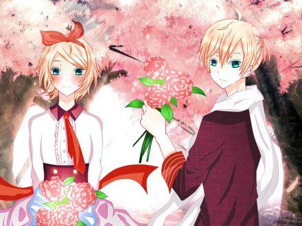 Обои Vocaloid Kagamine Len / Вокалоид Кагамине Лен и Vocaloid Kagamine Rin / Вокалоид Кагамине Рин с цветами в руках