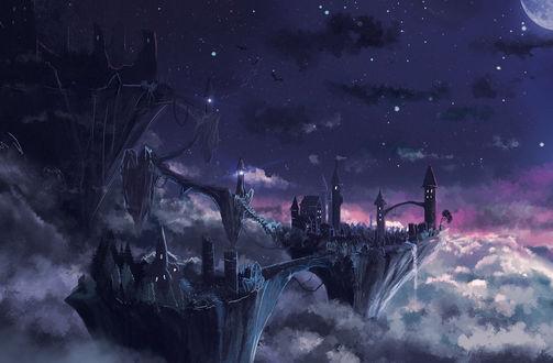 Обои Ночной город над облаками, художник Sylar113