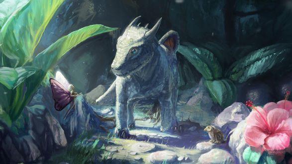 Обои Маленький дракон и фея