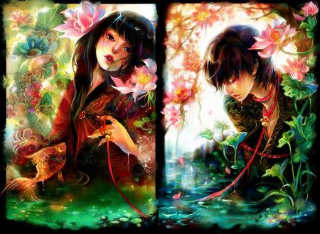 Обои Девушка и парень стоят в воде, связанные красной нитью