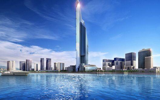 Обои Вид с воды на небоскребы, Дубай, Арабские Эмираты / Dubai, United Arab Emirates