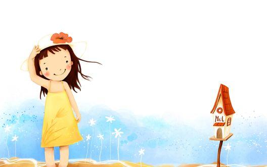 Обои Девочка в шляпке стоит рядом с почтовым ящиком (Почта / Mail)