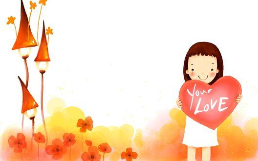 Обои Девочка держит в руках сердце с надписью Your Love / Твоя любовь