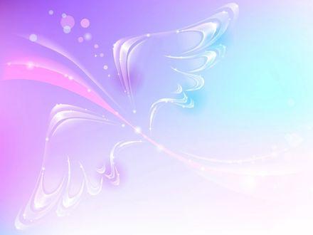Обои Крылья, нарисованные на нежном розово-голубом фоне