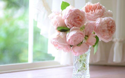 Обои Розовые розы в стеклянной вазе на подоконнике