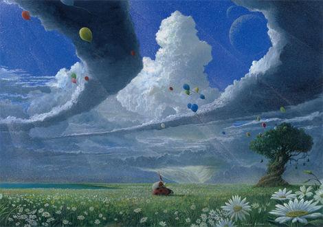 Обои Гном сидит на спине божьей коровки, ползущей по траве, на фоне облачного неба, в котором летают воздушные шарики, art by toshio ebine
