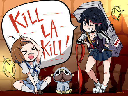 Обои Mako Mankanshoku / Мако Манкансеку и Ryuuko Matoi / Рюко Матои из аниме Круши Кромсай / Убить или быть убитым / Kill la kill
